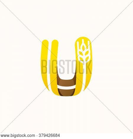 Letter U Logo With Negative Space Wheat. Perfect Vector Font For Bakery Identity, Badges Or Emblems