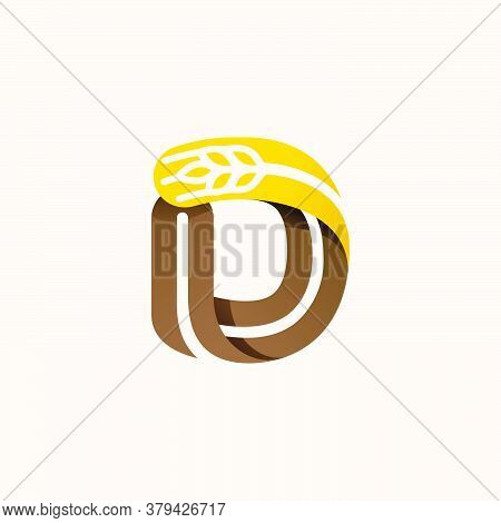 Letter D Logo With Negative Space Wheat. Perfect Vector Font For Bakery Identity, Badges Or Emblems