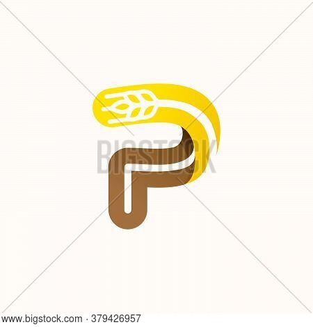 Letter P Logo With Negative Space Wheat. Perfect Vector Font For Bakery Identity, Badges Or Emblems