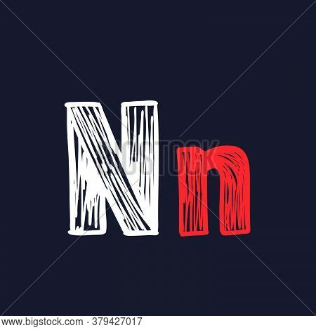N Letter Hand-drawn By Chalk On A Blackboard. This Font Is Perfect For A School Signboard, Advertisi