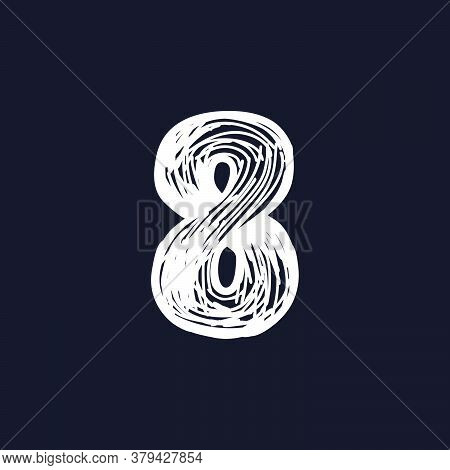Number Eight Hand-drawn By Chalk On A Blackboard. This Font Is Perfect For A School Signboard, Adver