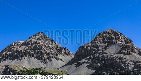 Close-up Of Two Peaks From Le Rois Mages (baltazar 3153m, Melchior 2948 M) Located  On Etroite Valle