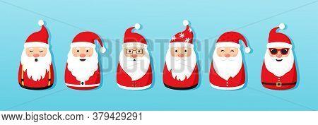 Christmas Santa Claus Vector Icons, Cartoon Character, Red Santa Hat, New Year Cute Collection, Holi