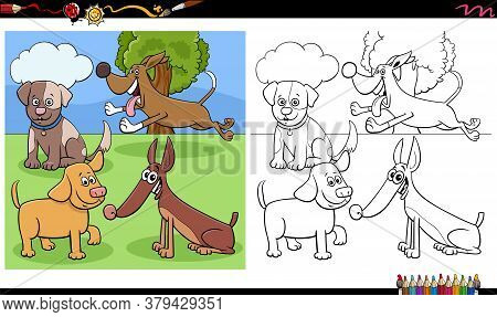 Cartoon Illustration Of Dogs And Puppies Animal Characters Coloring Book Page