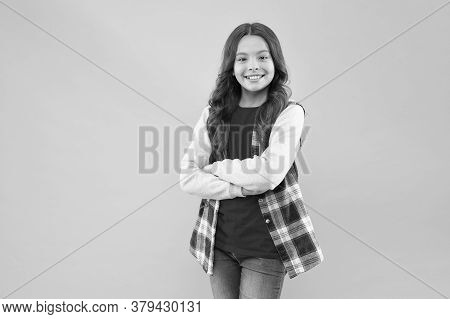 I Choose To Be Cool And Happy. Cool Child Keep Arms Crossed Pink Background. Fashion And Style. Cool