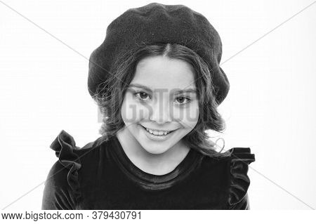 Fashion Portrait Cute Girl Wear Trendy Hat. Clothes Shop. Fancy Accessories. Fashion Concept. Fashio