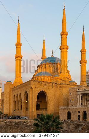 Beirut, Lebanon, August 08.2018: The Mohammad Al-amin Mosque Known As The Blue Mosque At The Sunligh