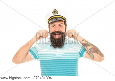 Man Cheerful Captain Sailor Hat Trip Around World, Wanderlust Concept.