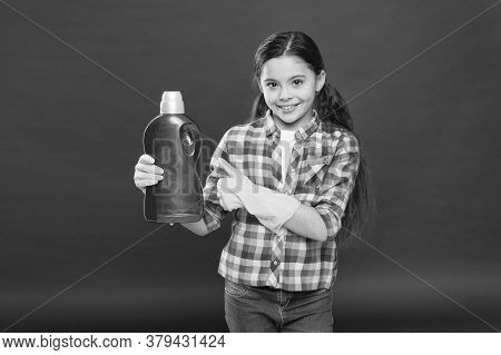 Kill Germs And Viruses. Antibacterial Disinfection. Girl Rubber Gloves Cleaning Hold Plastic Bottle