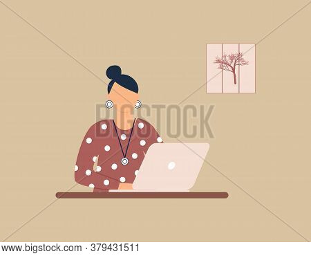 Woman Tutor Work On Laptop. Concept Of Remote Work, Distance Learning Or Online Training During The