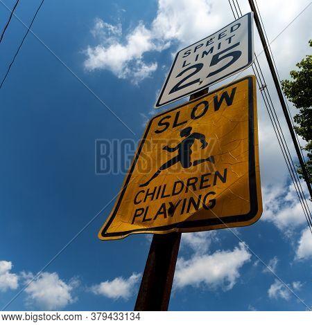 Speed Limit Twenty-five Slow Children Playing Road Sign