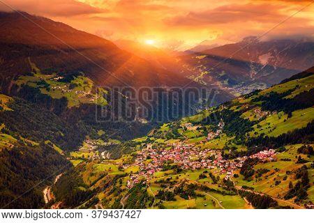 Aerial view on Flies Town At Sunset, Alps Mountains, Tirol, Austria  -Beautiful Austrian Town Flies Located  in Tirol, Austria
