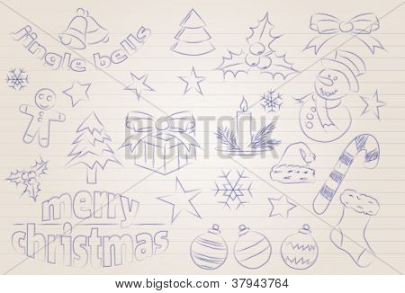 Vector Sketched Christmas Icons