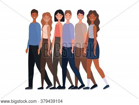 Women And Men Avatars Cartoons Group Design, Person People And Human Theme Vector Illustration