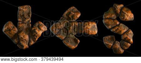 Set of rocky symbols arrow to down and left arrow, dollar. Font of stone on black background. 3d rendering