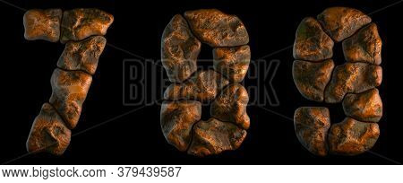 Set of rocky numbers 7, 8, 9. Font of stone on black background. 3d rendering