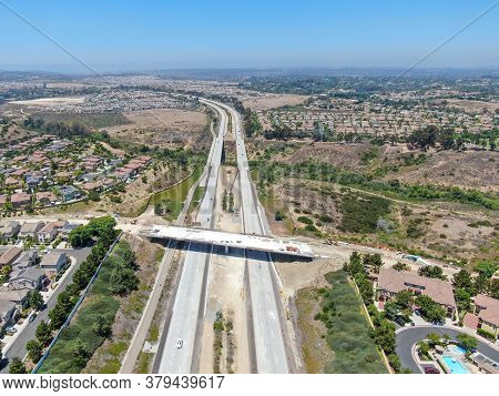 Aerial View Of Highway, Freeway Road With Vehicle In Movement In San Diego, California, Usa.