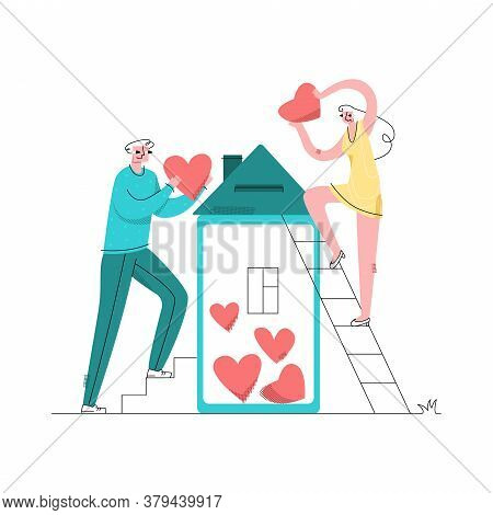 Vector Abstract, Flat Illustration With Young Couple Who Puts Hearts In Moneybox, House. Concept Lov