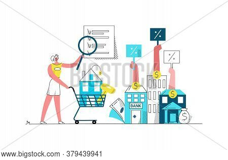 Vector Flat Illustration With Happy Young Woman Under Magnifying Glass Considers An Offer From Banks