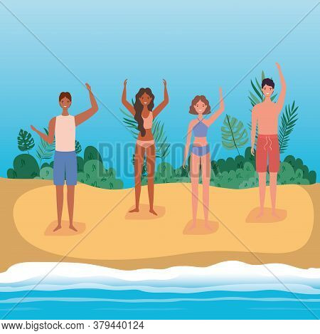 Girls And Boys Cartoons With Swimsuit At The Beach With Shrubs Design, Summer Vacation Tropical And
