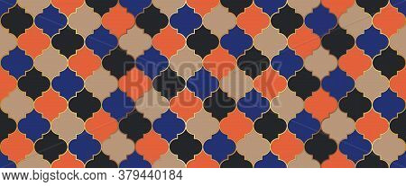 Traditional Ramadan Golden Mosque Tile. Moroccan Seamless Mosaic Design. Eid Mubarak Muslim Decorati