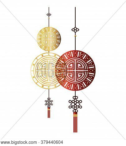 Chinese Red And Gold Fortune Hangers Design, China Culture Asia Travel Landmark Famous Asian And Ori
