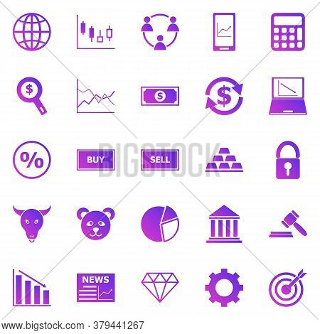 Forex Gradient Icons On White Background, Stock Vector