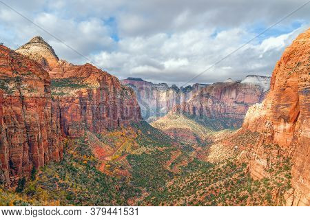 Canyon Overlook In Autumn. Zion National Park. Utah. Usa
