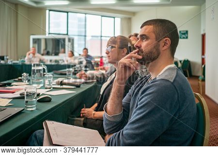 Lima / Peru - December 1 2016: Group Of People Sitting In A Business Training, Listening And Taking