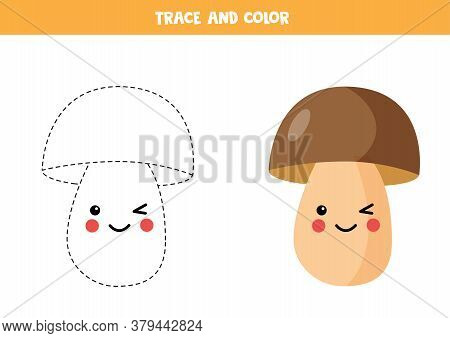 Tracing Lines With Cute Kawaii Boletus. Coloring Page For Kids.