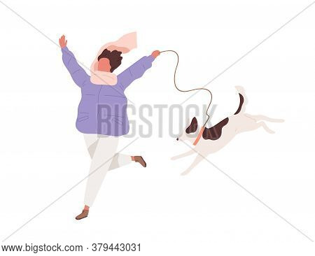 Happy Girl In Warm Clothes Running With Funny Dog Vector Flat Illustration. Joyful Female In Scarf E