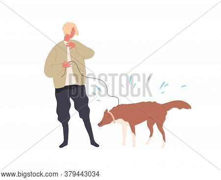 Hipster Guy Hiding From Drops Of Dogs Shaking Wet Wool Vector Flat Illustration. Male Owner And Dog