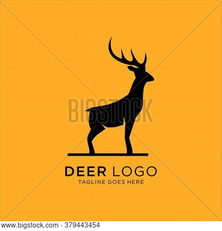 Deer Vector Illustration, Deer Logo Template, On Yellow Background