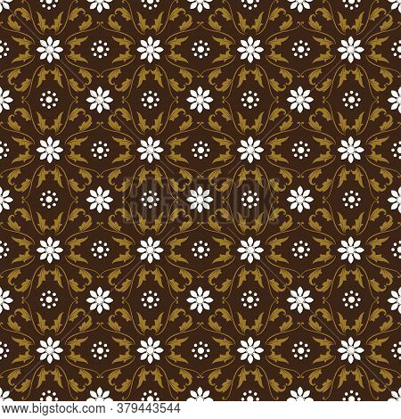 Beautiful Batik Patterns That Become Indonesian Traditional Clothes With Simple Brown Color Design.