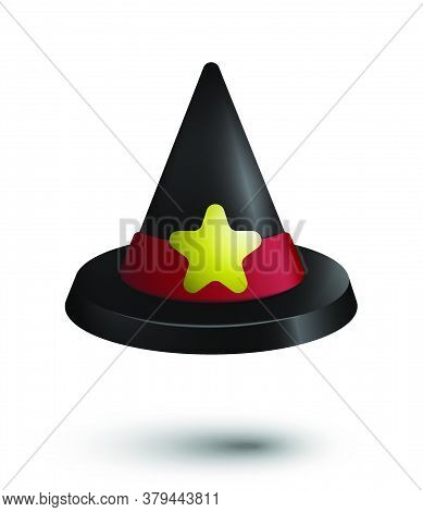 Kids Wizard Hat For Halloween With Bright Red Ribbon And Yellow Star. Plastic Toy For The Holiday Of
