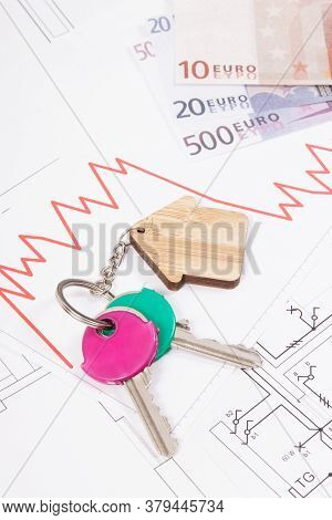 Keys Of Home, Currencies Euro And Downward Graphs On Electrical Construction Diagrams. Real Estate C
