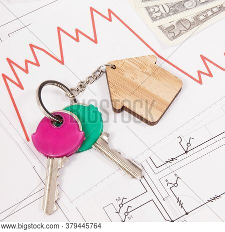 Keys Of Home, Currencies Dollar And Downward Graphs On Electrical Construction Diagrams. Real Estate