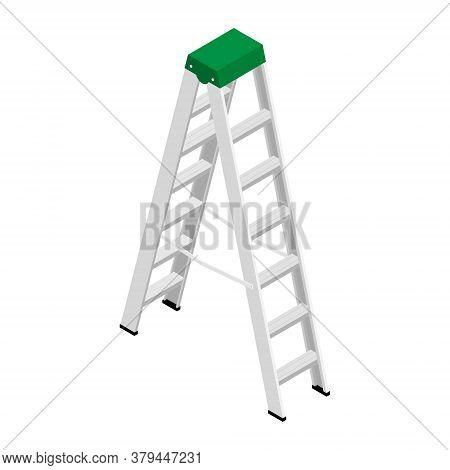 Metallic Household Steps. Isolated Aluminum Ladder Vector. Ladder Construction, Stepladder