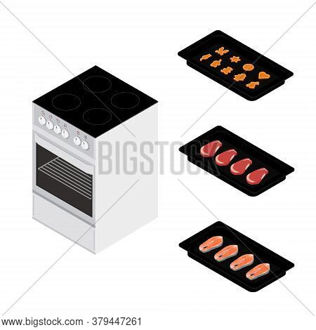 Set Of Various Plates, Forms Of Food And Kitchen Stove Isolated On White Background. Delicious Salmo