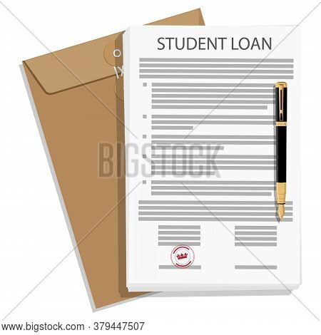 Student Loan Application Form And Fountain Pen Isolated On White Background. Vector