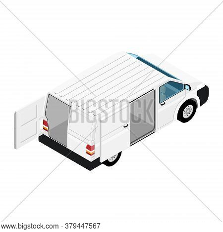 Hi-detailed Cargo Delivery Van With Opened Doors Vector Isometric View. Mockup Template For Branding