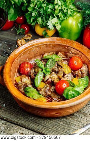 Vegetable Stew With Beef In A Clay Bowl. Beef Stew, Restaurant Dish.