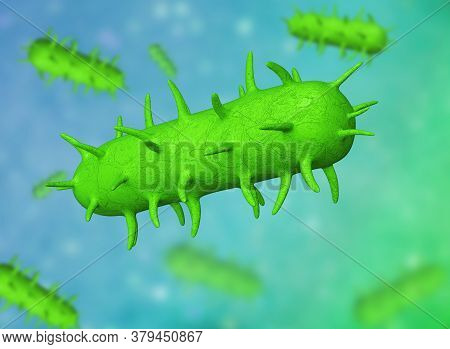 3d Illustration Of  Bacillus Bacteria. This Is Shape Of Bacteria. It Is Bacilli Type Category. E Col
