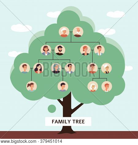 Webfamily Tree With Cartoon Drawings Of Old Father And Mother Starting A Genealogy Chain Of Children