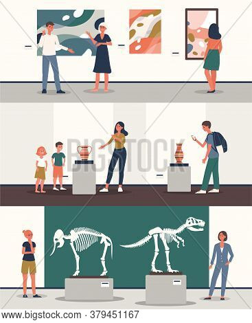 People Watching Exhibits At Archeology Museum Flat Vector Illustration Isolated.