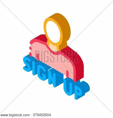 Webshop Sign Up Icon Vector. Isometric Webshop Sign Up Sign. Color Isolated Symbol Illustration