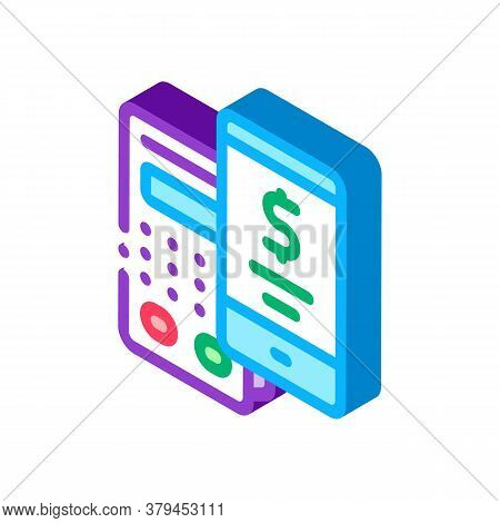 Pos Terminal Smartphone Payment App Icon Vector. Isometric Pos Terminal Smartphone Payment App Sign.