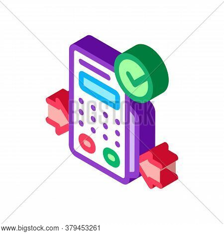 Pos Terminal Device Icon Vector. Isometric Pos Terminal Device Sign. Color Isolated Symbol Illustrat