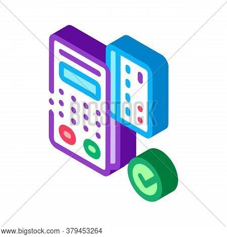 Card Pos Terminal Icon Vector. Isometric Card Pos Terminal Sign. Color Isolated Symbol Illustration