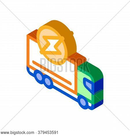 Electro Truck Cargo Icon Vector. Isometric Electro Truck Cargo Sign. Color Isolated Symbol Illustrat